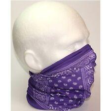 Tube Snood Scarf Purple White Paisley Biker Mask under Helmet Ski Face Sport Ski