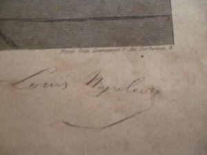 gravure avec signature de Napoleon