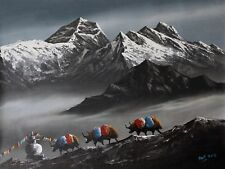 Himalayas Canvas Acrylic Nepali Painting Yak Mountain Dhaulagiri Nepal