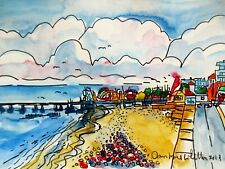 Original Watercolour Painting of Southend on Sea Beach View