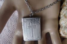 Kette Edelstahl Bibel Buch Kreuz Medaillon Ornamente für Fotos-Bilder zum öffnen