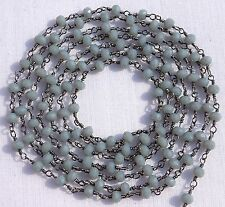 5 Feet Grey Moonstone Chalcedony Black Plated Faceted Bead Rosary Chain For Sale