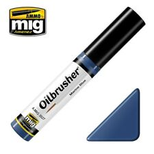 Ammo of Mig Oilbrusher Marine Blue - Oil Paint with Fine Brush Applicator #3527