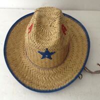2 Childrens Western Straw Cowboy Cowgirl Sheriff Star Hat