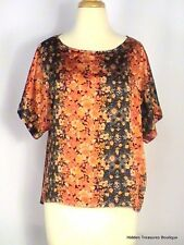 Forever 21 Contemporary Loose Fit Silky Navy Blue Orange Floral Medium