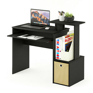 Black Wood Effect Computer Desk with Shelves and Storage Bin