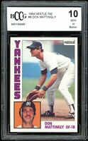1984 Topps Nestle #8 Don Mattingly Rookie Card BGS BCCG 10 Mint+