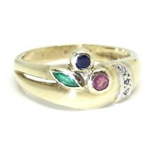 Vintage Ruby Emerald Sapphire & Diamond 9ct Gold 1991 Fancy Ring Size N