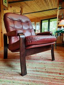 60er Lounge Armchair Danish Modern Easy Chair Leather mid-Century Club 60s 2