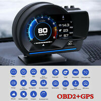 OBD2+GPS Smart Car Head Up Display HUD Gauge Water&Oil Temp Speedometer Alarm