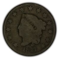 1827 1c Coronet Head Large Cent - Better Date - Chocolate Brown Coin SKU-Y2370
