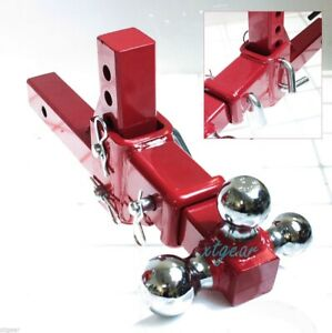 """2"""" Tri-Ball Tow  Red Hitch 3 Way Adjustable Vertical Travel Solid Raise Drop"""
