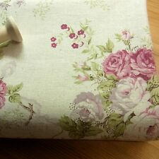 Vintage Style Linen blend FABRIC Rose Flowers Shabby Chic Ivory Home Deco