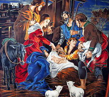 Cranston Christmas nativity scene wallhanging fabric panel angel manger 34x44
