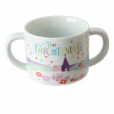 On Your Christening Porcelain Baby Mug with 2 Handles Decorative Lovely Gift