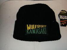WULFSPORT KAWASAKI WOOLLY HAT BLACK OFFICIAL WULFSPORT 100% ACRYLIC