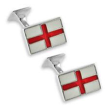 Sterling silver enamel St. George flag cufflinks 3346