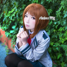 Brown Short Wavy 30CM Cosplay Halloween My Hero Academy Ochako Uraraka Wig