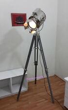 NAUTICAL CHROME SPOT SEARCHLIGHT STUDIO  LAMP WITH GREY TRIPOD STAND SPOT LAMP