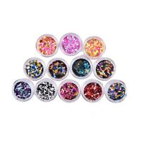 12Pcs Nail Glitter Sequins Mix Round 3D Nail Art Decoration Tips Manicure DIY AF
