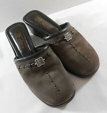Womens Brighton Ilsa Size 7 1/2 Brown Mules Nubuck Wedges Shoes Made in Italy