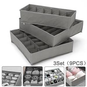 9Pcs Storage Drawer Organiser Storage Box Tidy Socks Bra Ties Draw Divider
