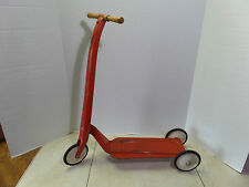 VINTAGE TOY 3 WHEEL METAL SCOOTER W/WOOD HANDLES & RUBBER TIRES