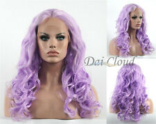 Lavender Purple Loose Curly Women Lace Front Wig Long Cosplay Hair Full Wigs New