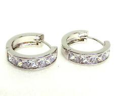 Men Pair Huggie Hoop Earrings CZ Cubic Zirconia 17mm Medium White Gold Plated UK