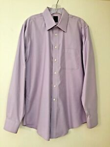 Joseph & Feiss Long Sleeve Dress Shirt Lavender Stripe 16 34/35 Non Iron Cotton