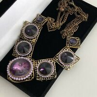 Statement Necklace Purple Amethyst Coloured Vintage Style Edwardian Steampunk