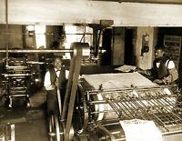"1899 Richmond Planet Newspaper Press Room Vintage Old Photo 8.5"" x 11"" Reprint"