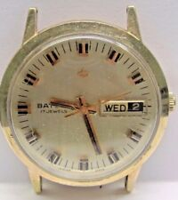Vintage Baylor 10K.T. Gold Filled Wrist Watch Auto 2nd hand/day/ Date 17 Jewels