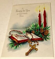 Unused Vintage Christmas Card A Rosary For You At Christmas Time