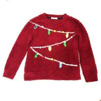 Vintage Refresh Womens Ugly Christmas Fuzzy Sweater Red Sequin Long Sleeve Small