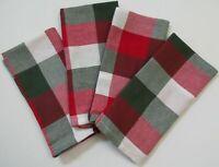 Ralph Lauren~Farmhouse Christmas Fabric Napkins~Red/Green/White Check/Plaid