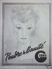 PUBLICITÉ 1943 POUDRE DE BEAUTÉ GIBBS - ADVERTISING