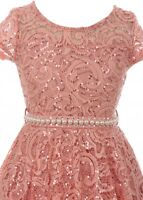 Rose Floral Lace Top Glitter Pearl Sash Wedding Formal Party Flower Girl Dress