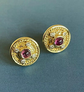 18ct Yellow Gold Diamond Ruby Earrings Round Vintage Cabochon Vintage Gemstones