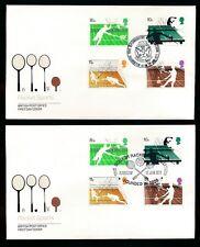 1977 Racket Sports Fdc... Badminton Avon + Harrow Squash Assoc...2 cubre