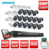 ANNKE HD 1080P POE 16CH 4K NVR 2MP Security Camera System IR Night Vision 0- 4TB