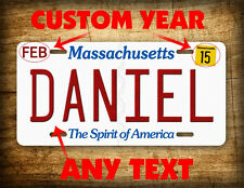 Personalized Massachusetts License Plate vanity auto tag aluminum 6x12 ANY TEXT!