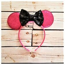 Hot Pink and black Minnie Mouse inspired headband,first birthday
