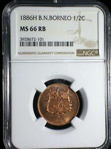 British North Borneo 1886 1/2 Cent *NGC MS-66 RB* Malaysia RARE 4 Year Issue