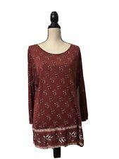 Lucky Brand 3/4 Sleeve Viscose Top Blouse Women Size Medium NEW