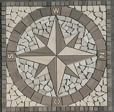 Naturstein Marmor Rosone 60x60 cm Windrose Mosaik Einleger Creme Weiss 031, NEU
