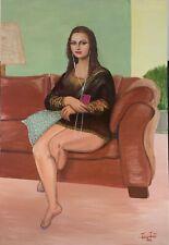 modern mona lisa original signed oil painting on canvas