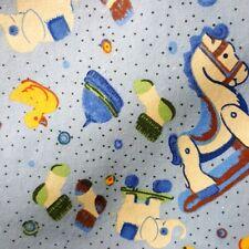 "COZY WINTER FLANNEL FABRIC CLASSIC BABY NURSERY TOYS PRINT ON BLUE 45"" YARDAGE"