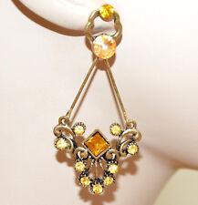 ORECCHINI oro dorato strass cristalli ambra gialli donna pendenti etnici CC18