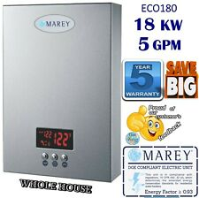 Electric Tankless Water Heater Marey ECO180 5GPM - 18 KW! Whole House REFECO180
